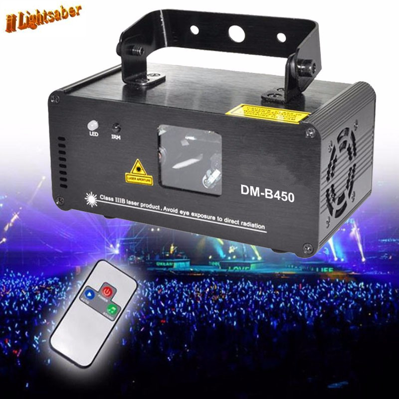 DMX512 450mw Blue DJ Laser Projector Scanner Stage Lighting Effect Disco Party Bar Home Xmas Remote Light Show Lights