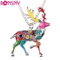 Bonsny Statement Metal Alloy Animal Deer Stag Elk Choker Necklace Chain Collar Pendant 2016 Fashion New Enamel Jewelry  Women