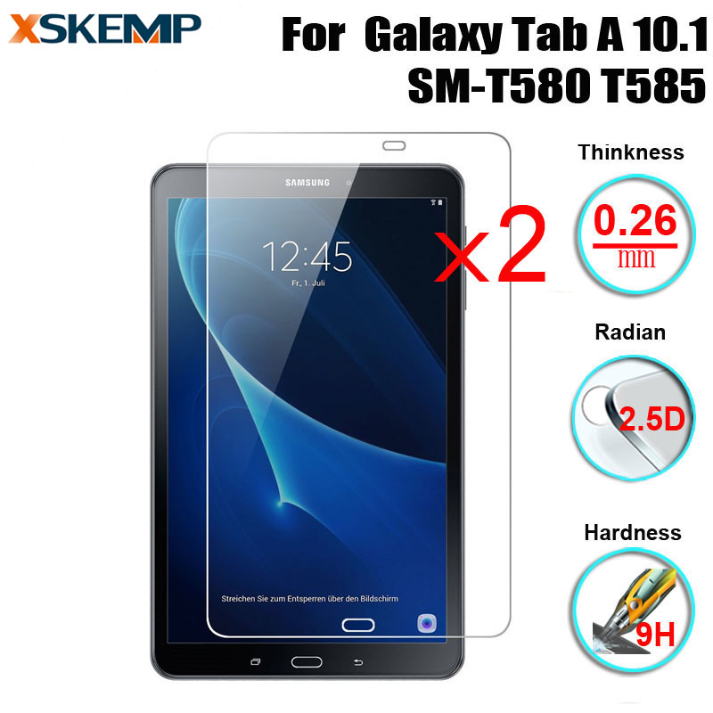 XSKEMP 2Pcs/Lot Tempered Glass For Samsung Galaxy Tab A 10.1 SM-T580 T585 Screen Protector Tablet Film 9H Transparent Ultra-thin