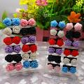 12 Pairs Rose Flower Stud Earring Mixed Color Flower Wholesale Lot Nickel Free  004E
