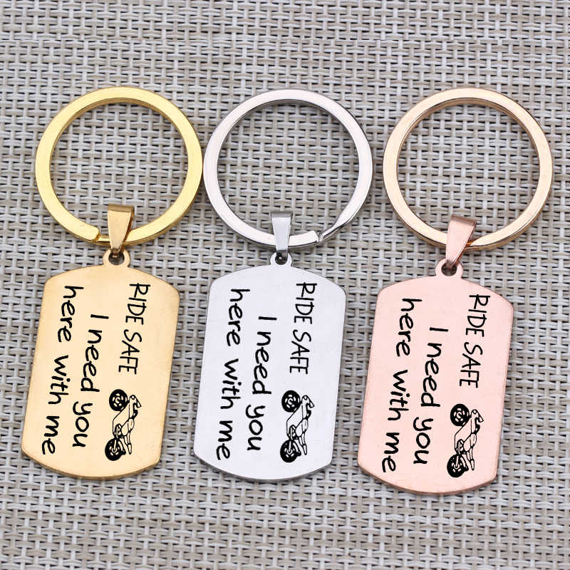 """Motorcycle Rider Key Chain Engraved""""Ride Safe I Need You Here With Me""""Jewelry Keyring For  Men Boyfriend Girlfriend Gift 1 pcs"""