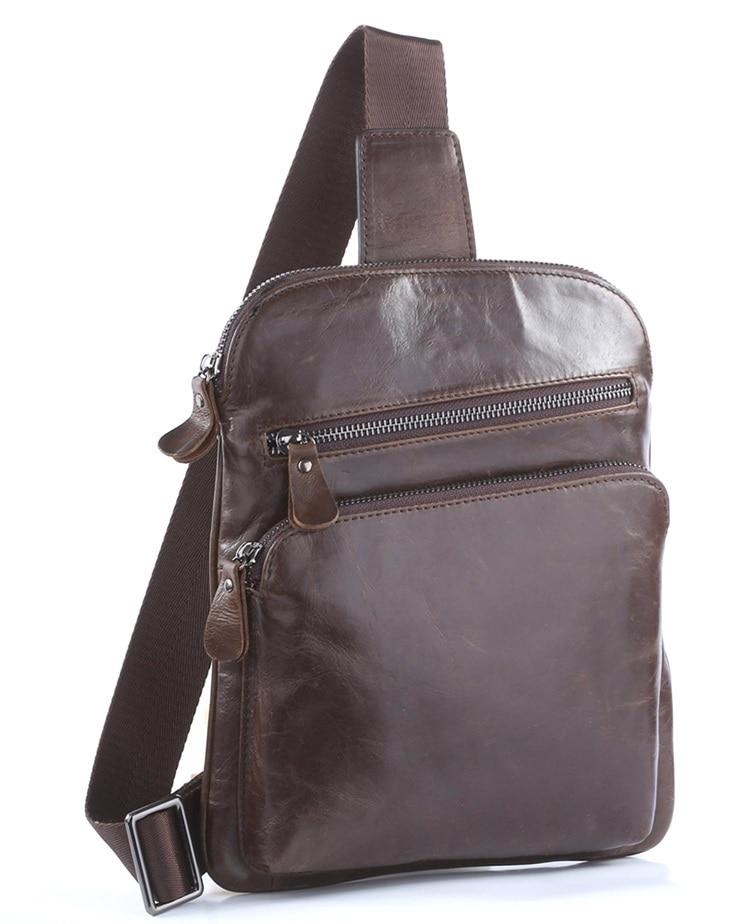 100% Genuine Leather Men Chest Bags Backpacks Popular Satchels Shoulder Bag 7195C