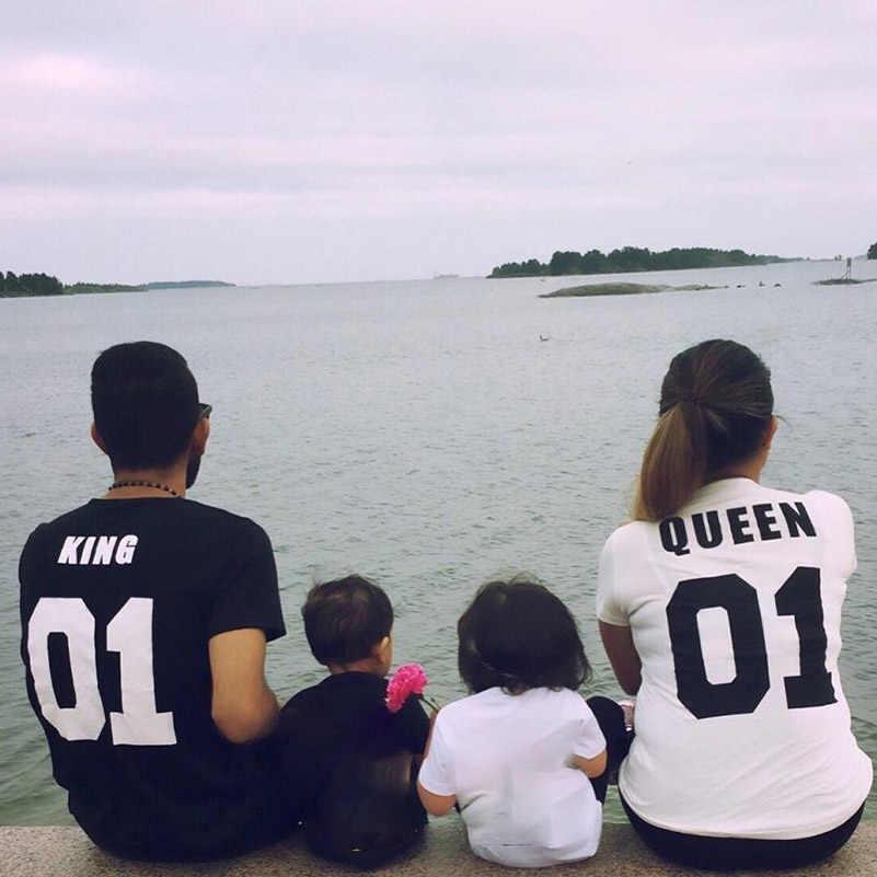 2018 מלך מלכת מכתב מודפס שחור Tshirts 2018 קיץ מקרית כותנה קצר שרוול Tees חולצות Loose זוג חולצות O צוואר אופנה