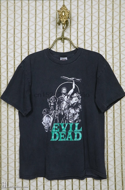US $12 99 |Evil Dead horror movie T shirt Army of Darkness Zombie Sam Raimi  Bruce Campbell vintage rare faded black 1980s 1990s 1997-in T-Shirts from