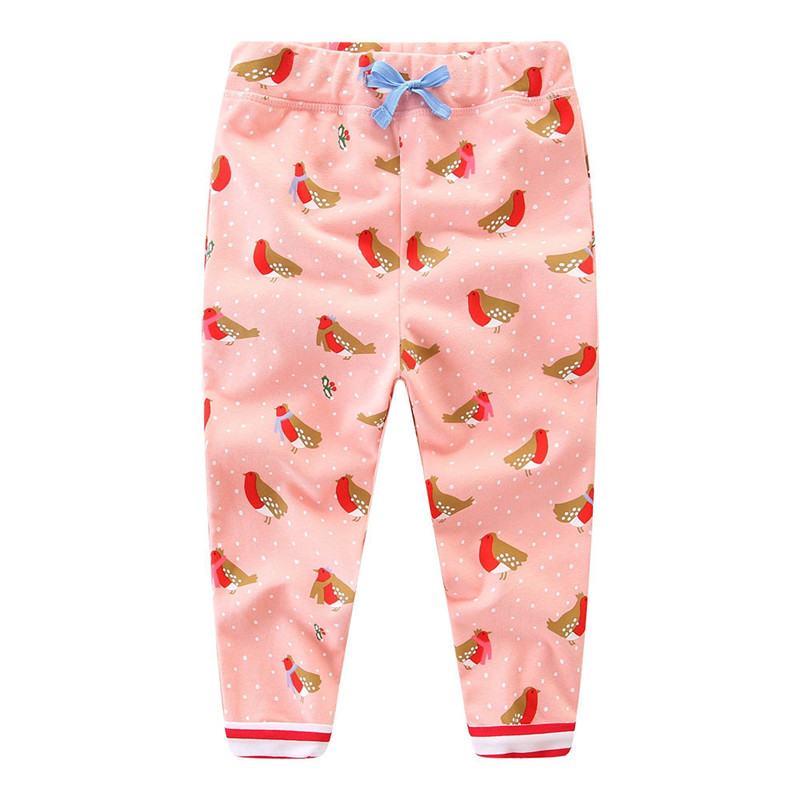 Jumping 2018 new style baby girls cute sweatpants kids cartoon pant printed lovely cartoon character girls top quality pants cartoon airplane style red