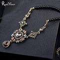 Crystal Long Necklace for Women Fashion Vintage Gold Black Beads Maxi Necklaces & Pendants Baroque Statement Collar Jewelry 2017