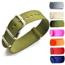 Wholesale 100PCS/lot Heavy duty nylon straps  22mmNylon Watch band NATO strap zulu strap watch strap ring buckle все цены
