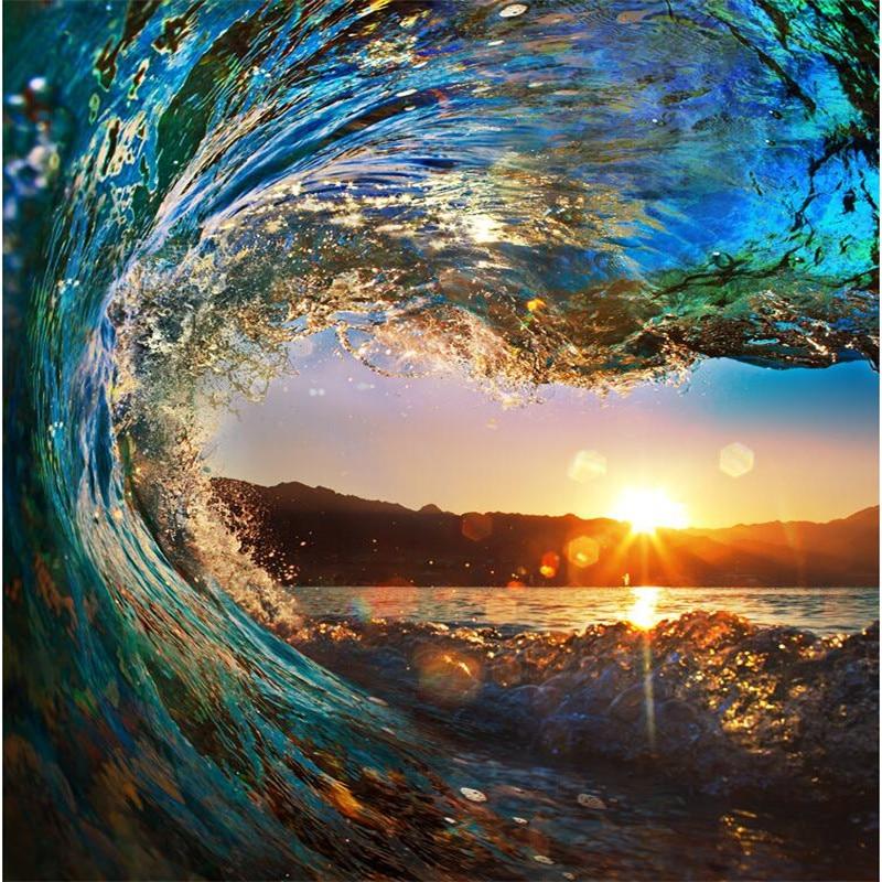 ondas do mar vista para o mar pintura quarto sala de estar tv fundo