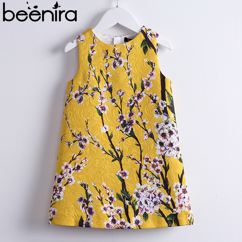 Beenira Girls Summer Dresses 2018 European And American Style Kids Sleeveless Flore Printed Party Dress Children Clothes Dress retro style sleeveless tiger stripes printed mini dress for women