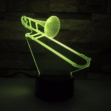 Trombone 3D Lamp LED Nith Light 7 Color Change Sensor Musical Instruments Desk Lamp Indoor Home Room Decoration Best Child Gift