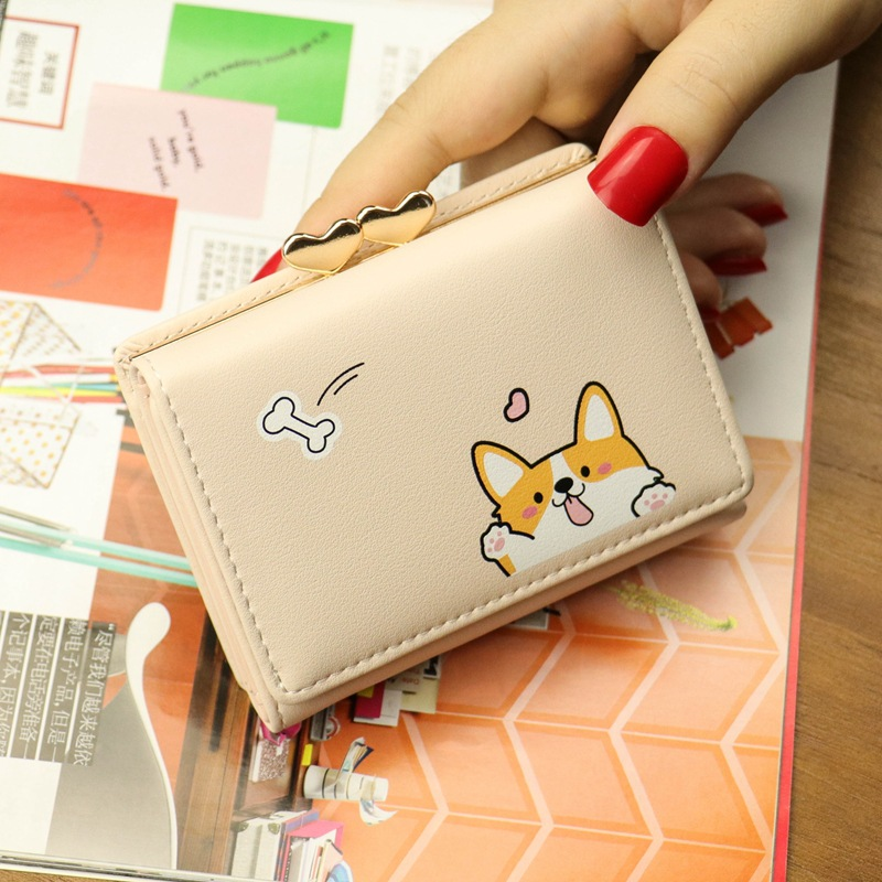Cartoon Women Wallet Small Cute Corgi Doge Wallets Ladies Short Leather Purses Portefeuille Female Purse Clutch