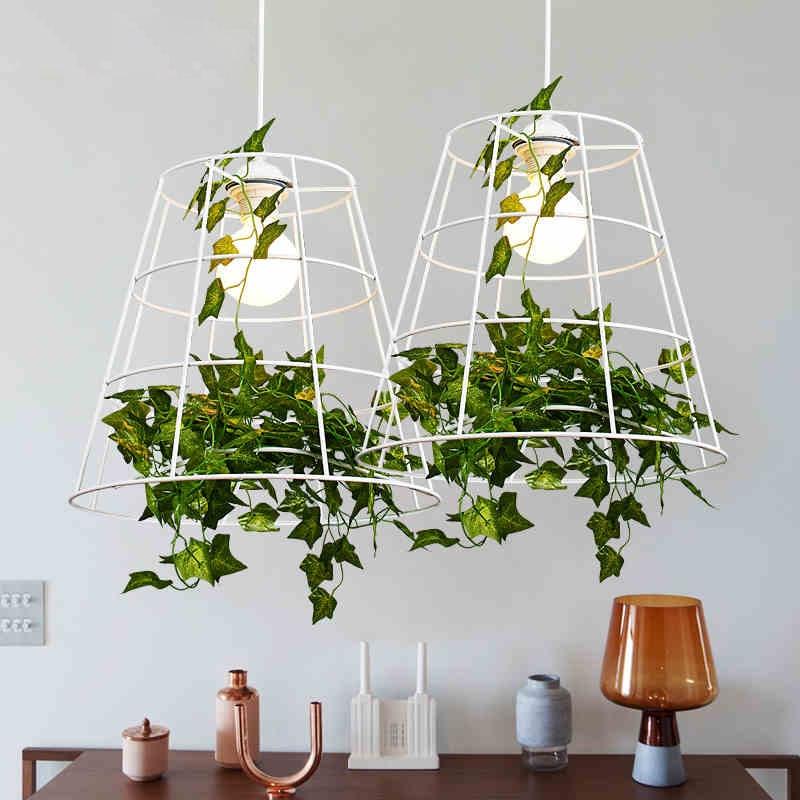 Plant Pendant Lights Nordic Modern Hanging Pendant Light Fixture White Pastoral Lamp Dining Room Restaurant Home Indoor Lighting