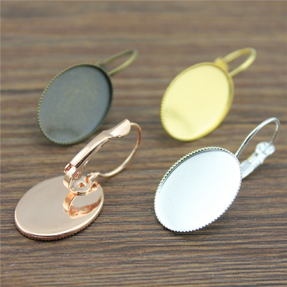 10pcs 4 Colors Fit 10x14/13x18/18x25mm Oval Glass Cabochon Copper Material Sawtooth Edge French Lever Back Earrings Base Bezels цена и фото