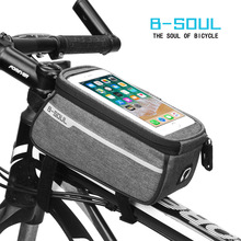 B-SOUL Waterproof Bicycle Bags Touch Screen MTB Cycling Bags Panniers Bike Frame Front Tube Storage Bag 6.0 Inch
