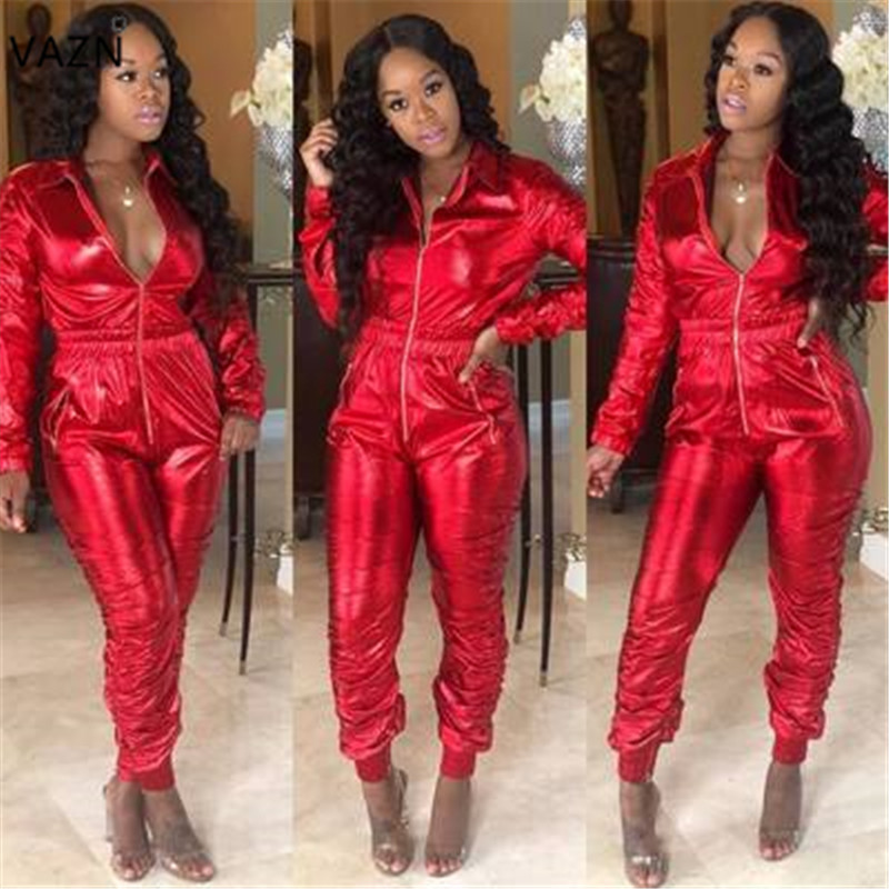 VAZN Top Quality 2018 Hot Solid 3-Colors Jumpsuits Women Full Sleeve Zipper V-Neck Jumpsuits Casual Hollow Out Jumpsuits CQ5138