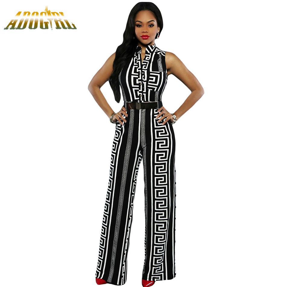 Fashion Long Jumpsuits For Women Plus Size XXXL Black/White Print Gold Belted Jumpsuit F ...