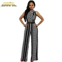 Kadınlar Için moda Uzun Tulumlar Artı Boyutu XXXL Siyah/Beyaz Baskı Altın Kuşaklı Tulum Moda Seksi V Yaka Bayanlar Için Playsuit