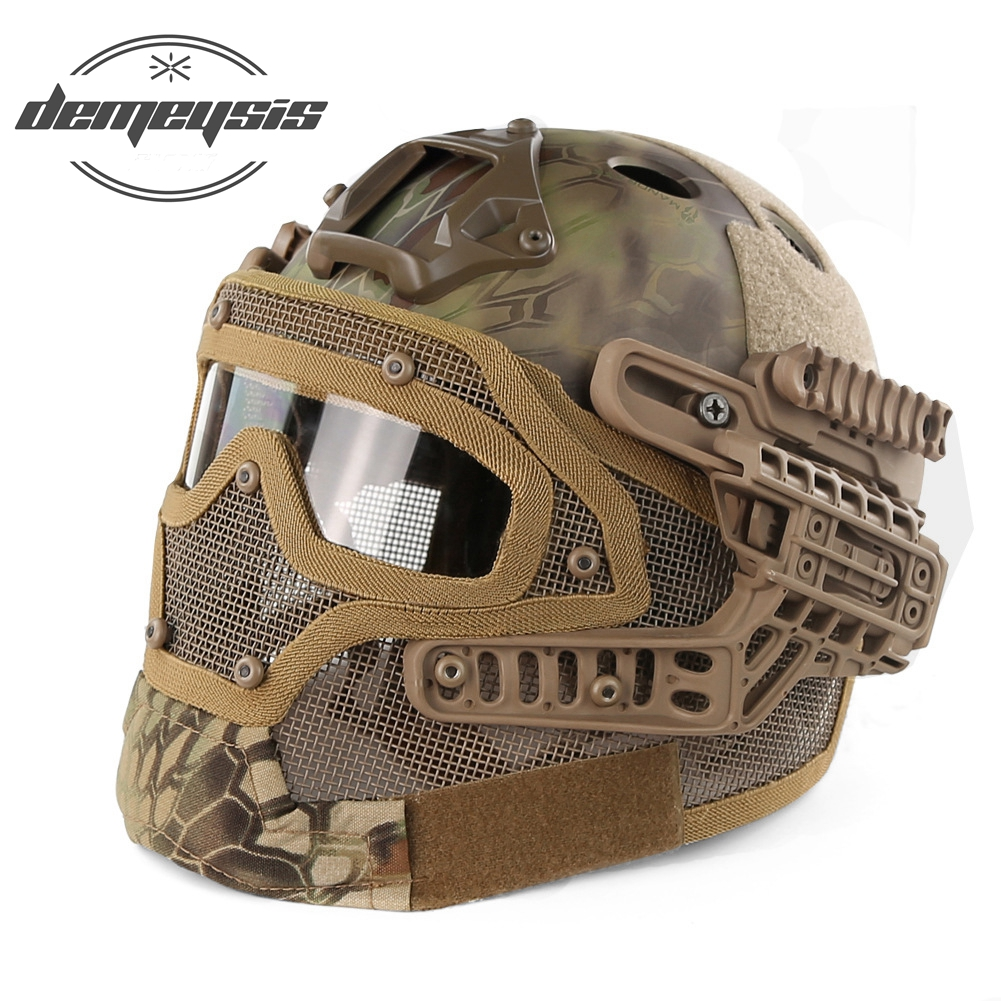 Full Face Protective Goggles Mask Military Tactical Helmet Airsoft Paintball Helmet WarGame CS Tactical Hunting Protect Helmet tactical helmet g4 system set pj airsoft helmet overall protect glass face mask goggles for military paintball war game