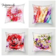 Fuwatacchi Oil Painting Style Cushion Cover Multi Flower Printed Pillow Rose Sunflower Decorative Pillows For Sofa Car