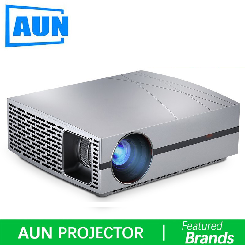 AUN HD Projecteur F20, 4000 Lumens 1280*800 p, HDMI, VGA, USB, HIFI Haut-Parleur, Home Cinéma (En Option Android version Suppor 1080 p, 4 k, AC3)