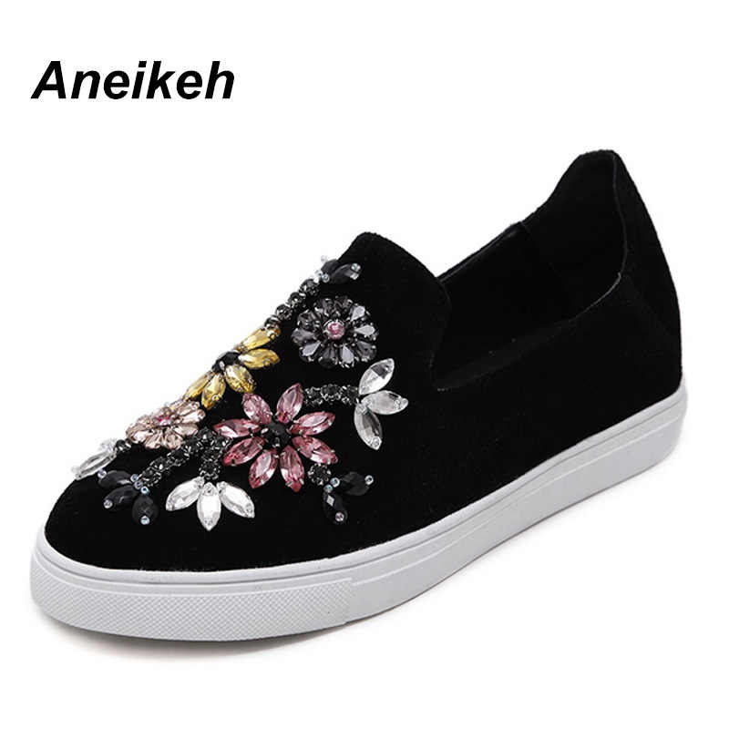 Aneikeh Autumn Women Shoes Flat 2018 Round Toe Crystal Comfortable Women  Slip On Women s Shoes Loafers 6f4926bf248f