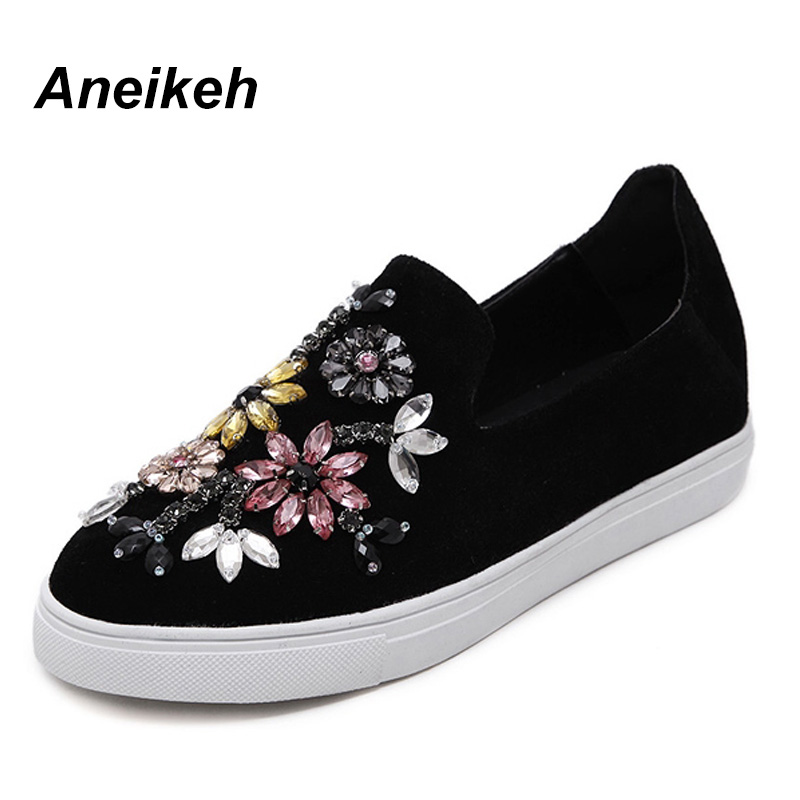 Aneikeh Autumn Women Shoes Flat 2018 Round Toe Crystal Comfortable Women Slip On Women's Shoes Loafers Casual Flat Shoe 13202-8# ygf platform loafers women flats spring autumn casual shoes slip on canvas women comfortable round toe flat loafer shoes