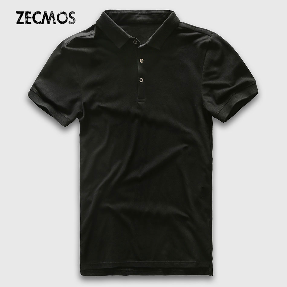 Polo Shirt Heren Slim Fit Luxe Polo Heren Korte Mouw Effen Katoen Business Casual Mode Jerseys Merk Zomer Polo Man