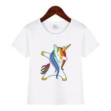 лучшая цена Dabbing Unicorn Shirt Cute Funny Cartoon Print Baby Boys tshirt For Summer Infant Kids T-Shirt Clothes Casual Toddler Girls Tops