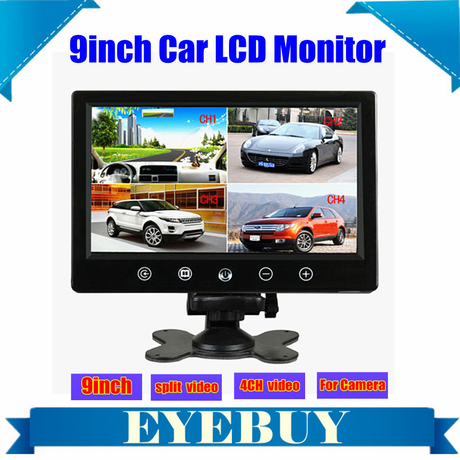 9 Inch touch Car Auto LCD Rear View Monitor Quad Video 4 Splitlter display bus headrest