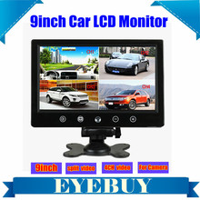 9 Inch touch Car Auto LCD Rear View Monitor Quad Video 4 Splitlter display bus headrest monitor screen for car camera gps dvd