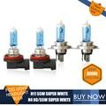 2PCS/Item H4 Xenon Effect Halogen Auto HeadLight Bulb H11 Fog Light Bulb Kit 4300K 12V 55W Super White Car Light Source