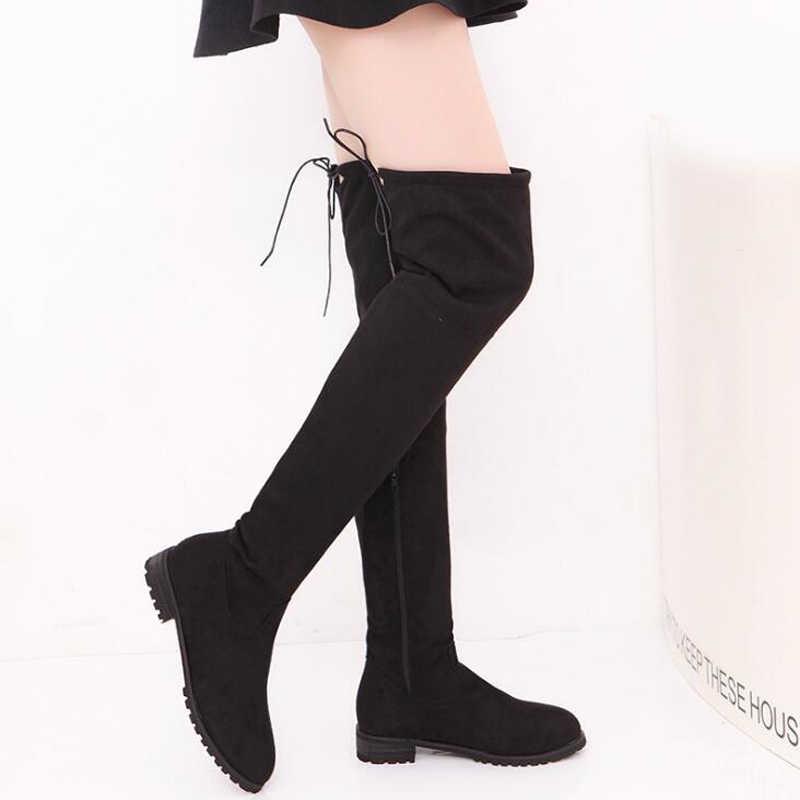 Kadın yüksek çizmeler 2018 sıcak kış ayakkabı moda akın kadın botları kaymaz diz üzerinde çizmeler artı boyutu 34-43