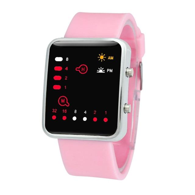 154b3d22070 Mulheres Mens Red LED Digital Sports Watch Relógio de Pulso Binário  Silicone promoção de vendas da