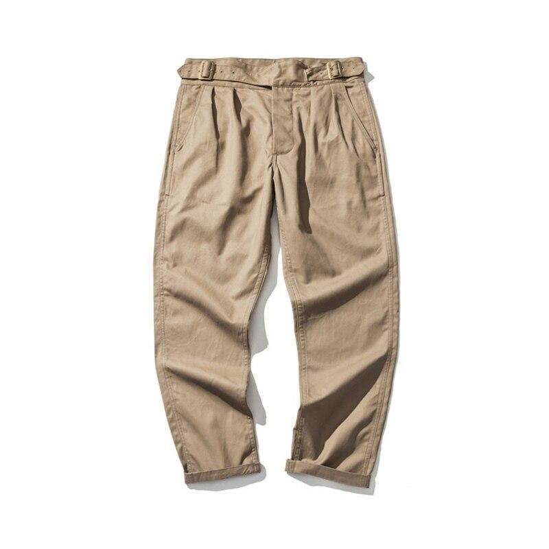 Hommes de Cru 1950 s Angleterre Armée 9 oz Gurkha Pantalon Avec Ceinture Réglable Double Pli Militaire Kaki Tan Chino pantalon Pour Hommes