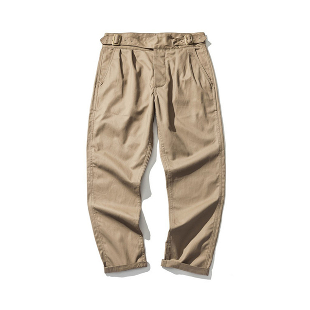 73418218 US $86.79 30% OFF|Męska w stylu Vintage 1950 s anglii armii 9 oz Gurkha  spodnie z regulowany pasek podwójne zakładka wojskowy Khaki Tan spodnie ...