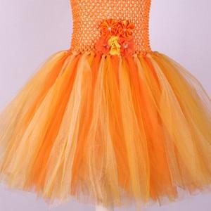 Image 5 - Handmade Flower Girl Tutu Dress for Children Orange Halloween Pumpkin Costume Kids Girl Tulle Performance Birthday Party Dresses