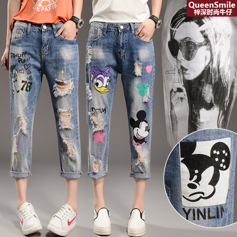 2018 Jeans Woman Broken Jeans Cartoon Printed Beggar Pants Women's Spring And Autumn Zipper Printing Loose