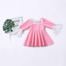 Fashion Autumn/Winter Baby Girls Dress Embroidered Horn Long