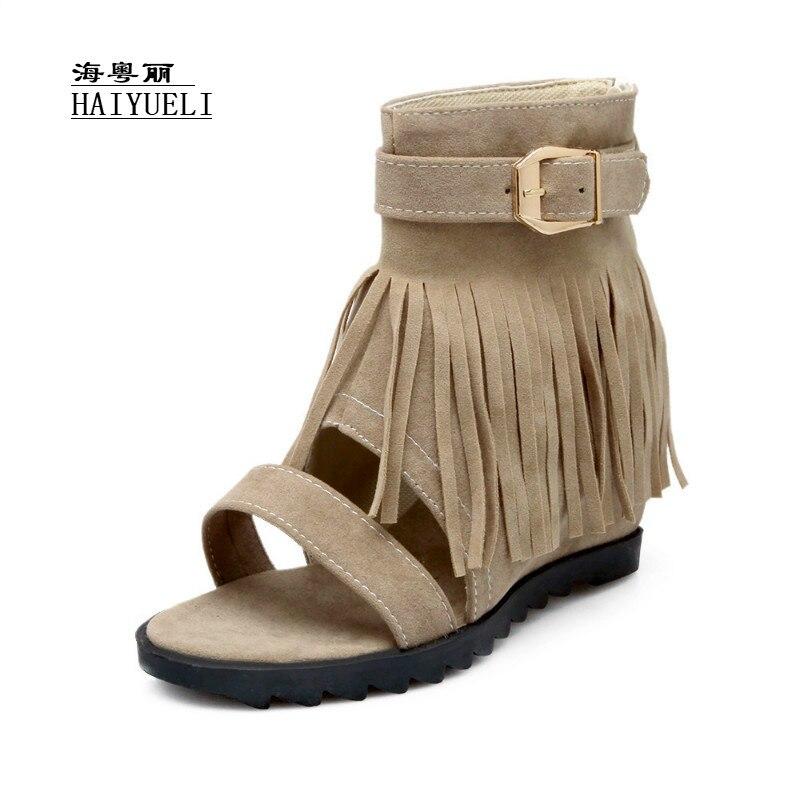 Women Fashion Spring Autumn Tassel Open Toe Wedges Summer Ankle Boots Sandals куклы antonio juan кукла бертина в голубом озвученная 52см