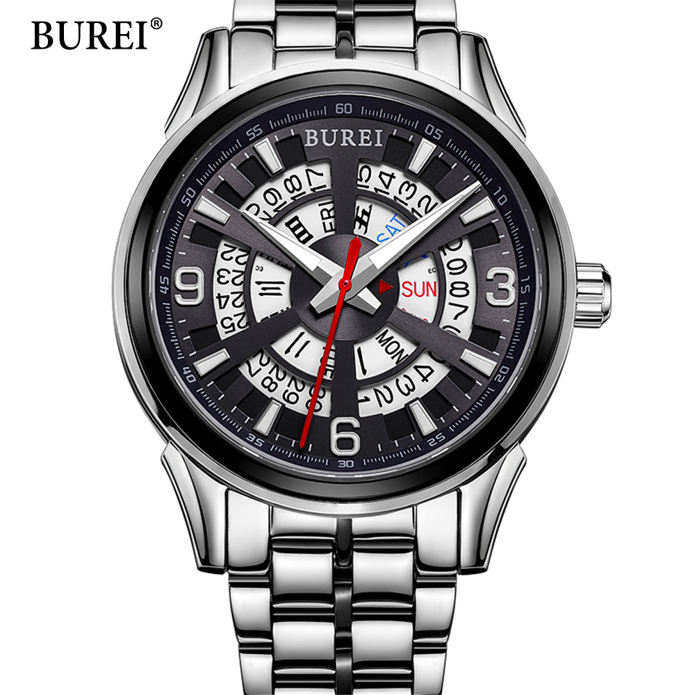 2017 Men's BUREI Brand Luxury Stainless Steel Automatic Watch men Fashion Casual Dive 50M Date Clcok Business Wrist watches tevise fashion auto date automatic self wind watches stainless steel luxury gold black watch men mechanical t629a with tool