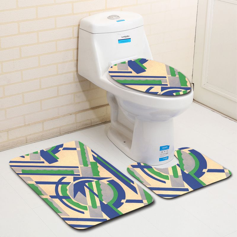 Zeegle Creative Pattern 3Pcs Toilet Rug Set Bathroom Mats Warm Washable Carpets for Bathroom and Toilet Anti-slip Bath Mats Pads