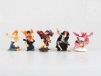 HKXZM Anime Figure 7.5CM 5pcs/set One Piece Portga D Ace Luffy Shanks Chopper Nami PVC Figure Model Toys Doll Collectible