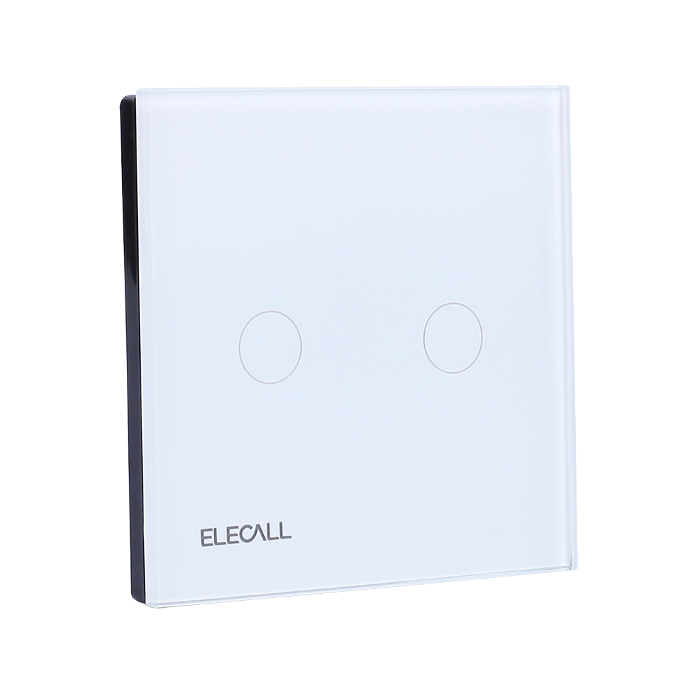 110V~250V 5A Remote Control Switch 1 Gang 2 Way Smart Wall Touch Switch+LED Indicator Crystal Glass Switch Panel SK-A802-03EU smart home eu touch switch wireless remote control wall touch switch 3 gang 1 way white crystal glass panel waterproof power