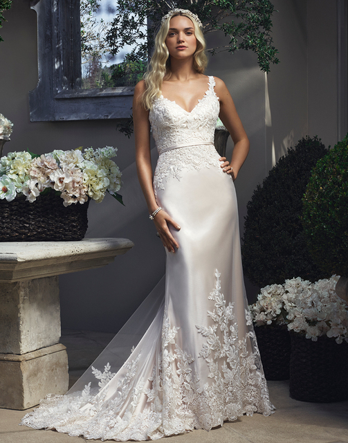 Imh183 E Marry Y V Neck Mermaid Wedding Dress 2016 Casablanca Gowns Lace Liques