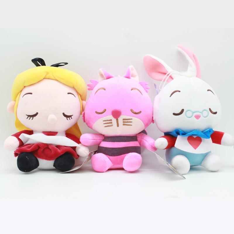 3pcs/lot 20cm Alice In Wonderland 2 Alice Cheshire Cat White Rabbit Soft Stuffed Plush Toys Doll Pendant For Kids Children Gifts