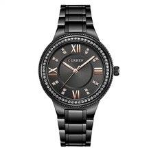 CURREN Women's Watch Top Brand Luxury Ladies Business Casual Wristwatch Stainless Steel Rhinestone Fashion Clock