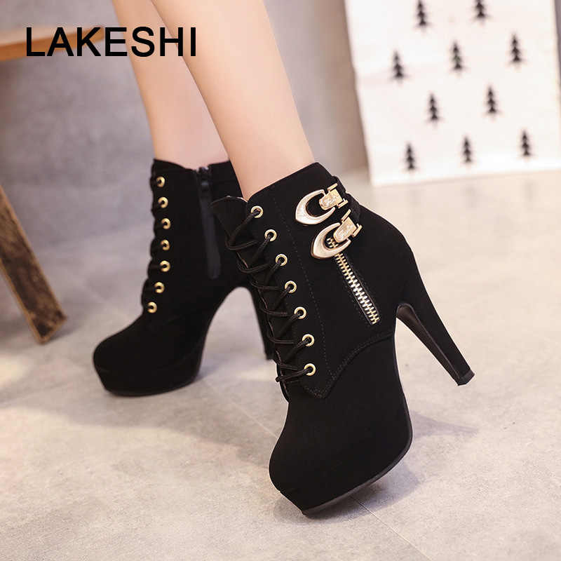 LAKESHI Casual Shoes Women's Boots Women Bukles High Heel Short Boots Ankle Boots for Women Flock Lace-up Ankle Boots Plus Size