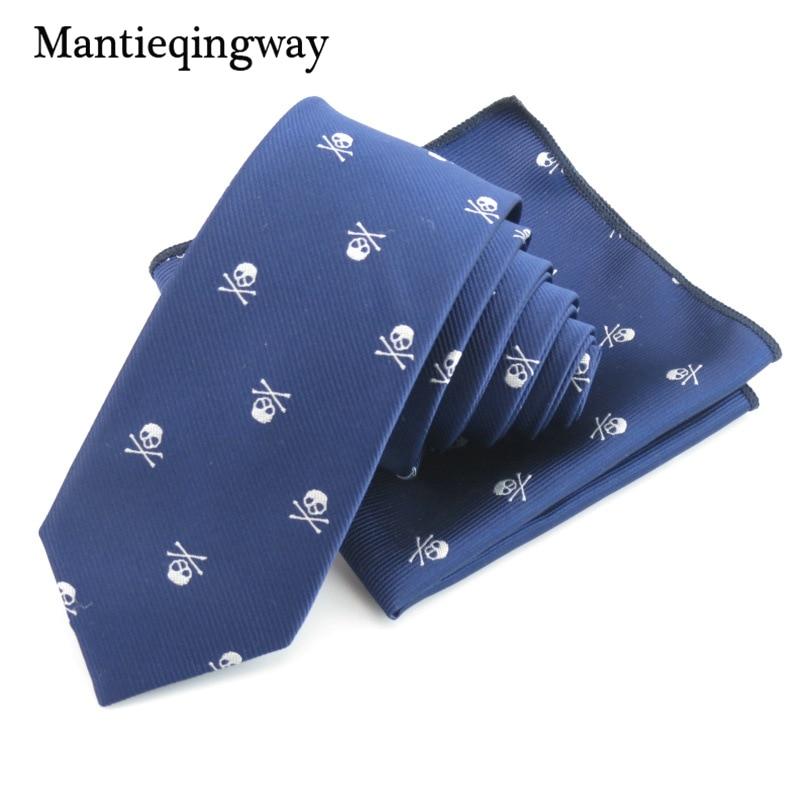 Mantieqingway Bisnis Saputangan Dasi Polyester Dasi Set Tengkorak - Aksesori pakaian - Foto 6