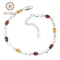 GEM S BALLET Natural Citrine Garnet Smoky Quartz Mix Gemstone Genuine 925 Sterling Silver Chain Link
