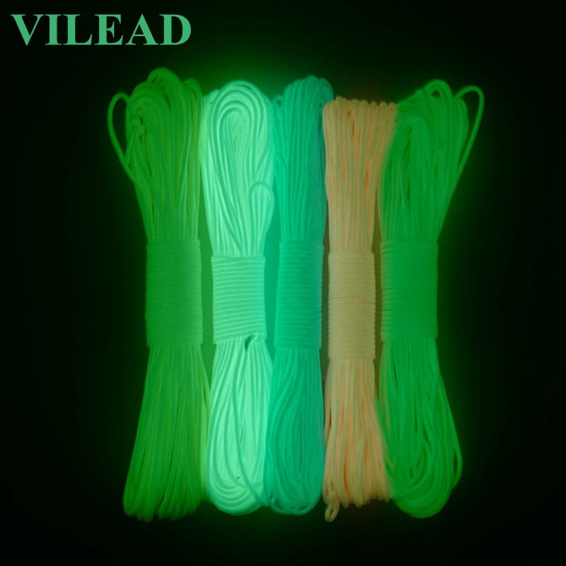 VILEAD 550 Survival Emergency 9 Core Paracord Luminous Outdoor Fluorescent Rope Environmental Protection Noctilucence Paracord